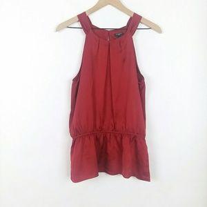 Ann Taylor sleeveless pleated neckline blouse
